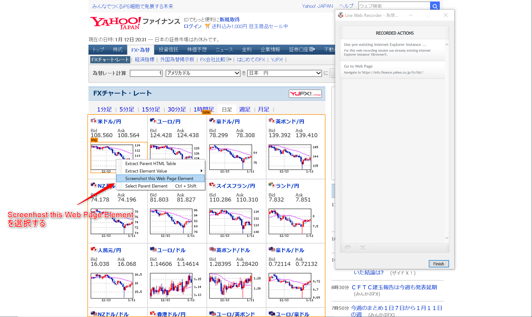 Screenshot thi Web Page Element